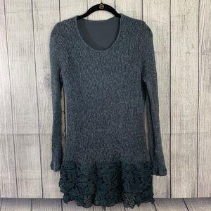 Sweaters - Beautiful long lace trimmed sweater. Smoke Gray M